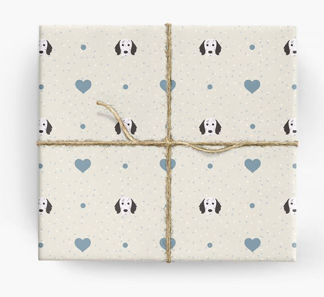 English Setter Icon & Hearts Wrapping Paper