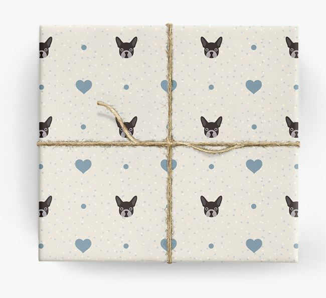 Frenchie Icon & Hearts Wrapping Paper