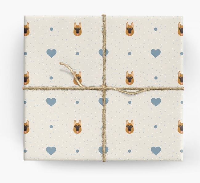 Dog Icon & Hearts Wrapping Paper