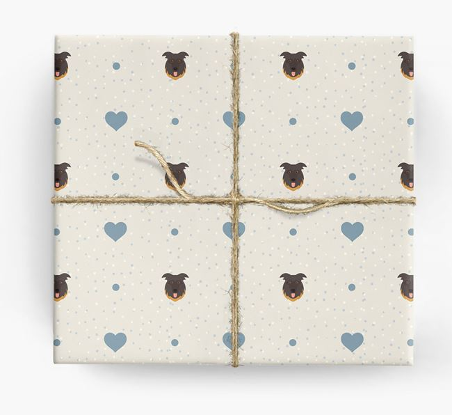 German Shepherd Icon & Hearts Wrapping Paper