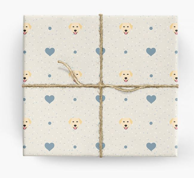 Golden Lab Icon & Hearts Wrapping Paper
