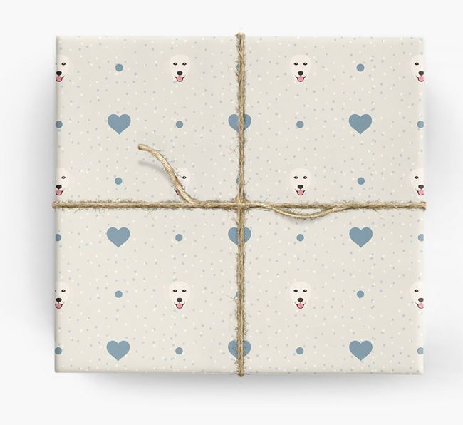Golden Retriever Icon & Hearts Wrapping Paper