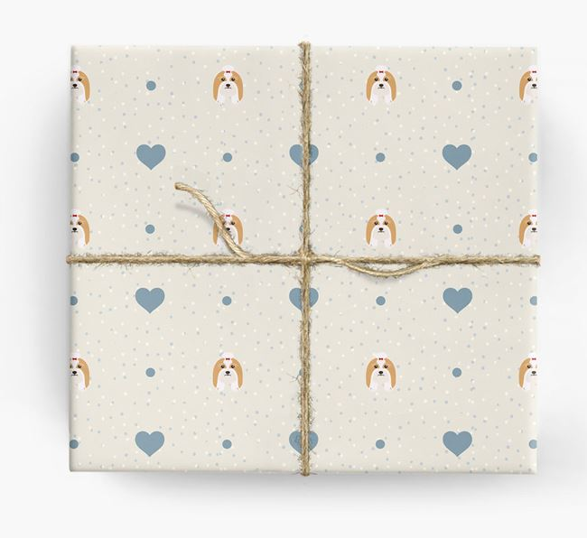 Lhasa Apso Icon & Hearts Wrapping Paper