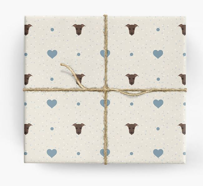 Lurcher Icon & Hearts Wrapping Paper