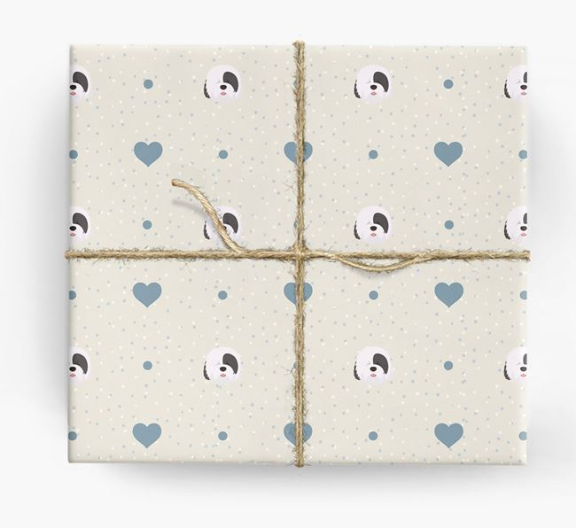 Sheepdog Icon & Hearts Wrapping Paper