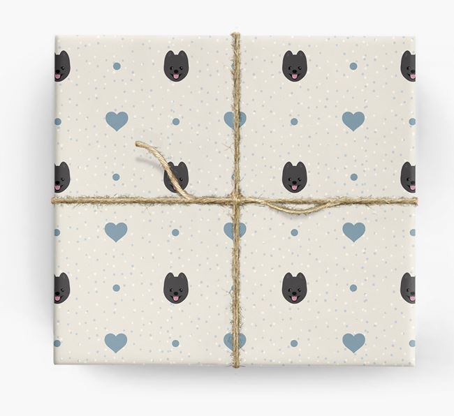 Pomeranian Icon & Hearts Wrapping Paper
