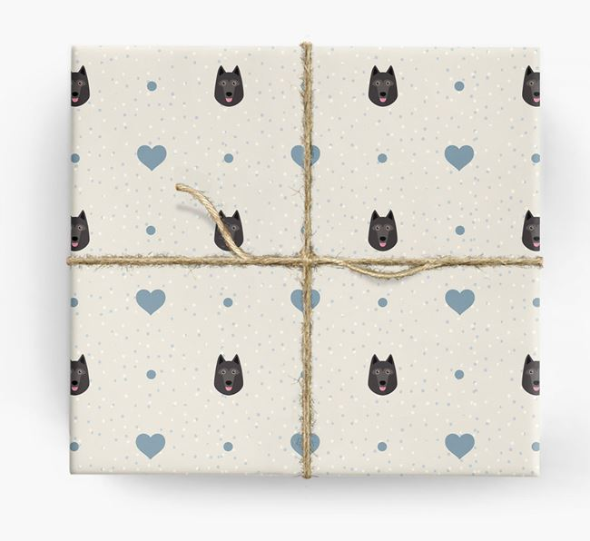 Schipperke Icon & Hearts Wrapping Paper