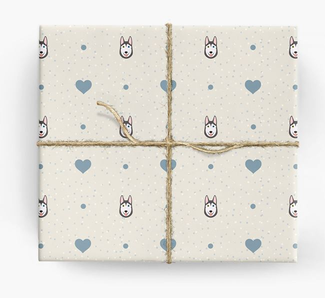 Husky Icon & Hearts Wrapping Paper