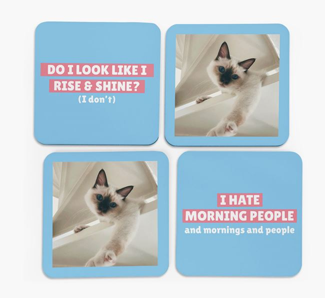 'I Hate Morning People' - Cat Photo Upload Coasters (Set of 4)