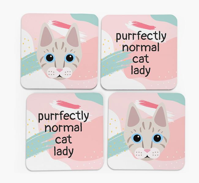 'Purrfectly Normal Cat Lady' - Personalized Ashera Coaster (Set of 4)