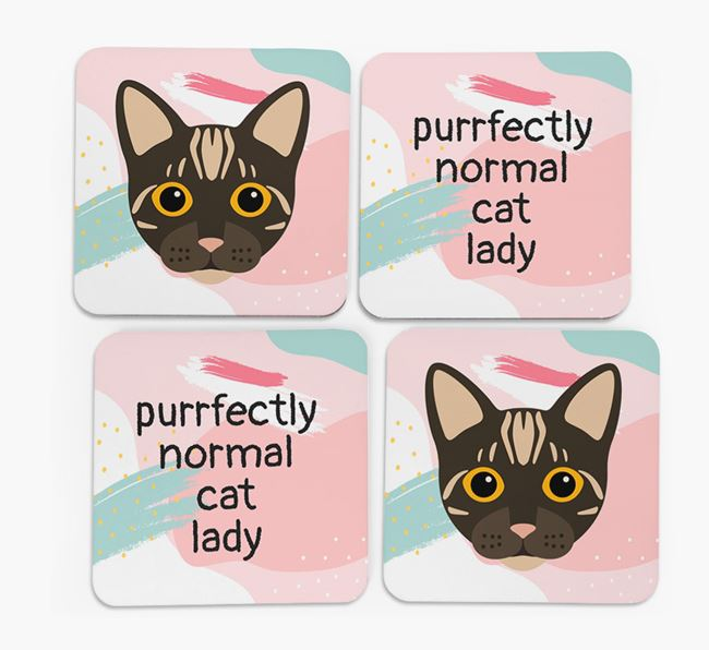 'Purrfectly Normal Cat Lady' - Personalised Bengal Coaster (Set of 4)
