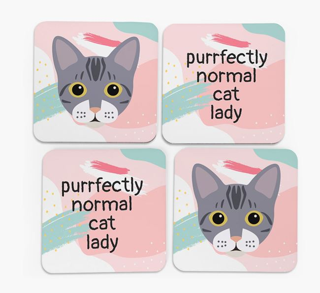 'Purrfectly Normal Cat Lady' - Personalized Bengal Coaster (Set of 4)