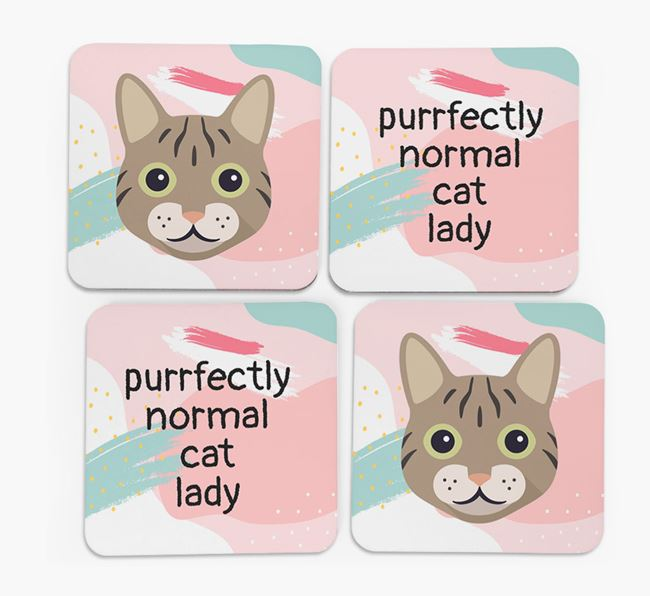 'Purrfectly Normal Cat Lady' - Personalized Cat Coaster (Set of 4)