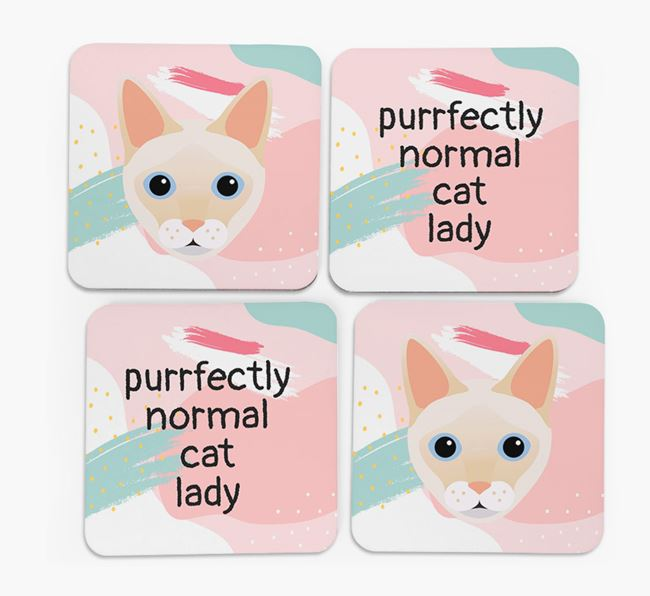 'Purrfectly Normal Cat Lady' - Personalized Siamese Coaster (Set of 4)
