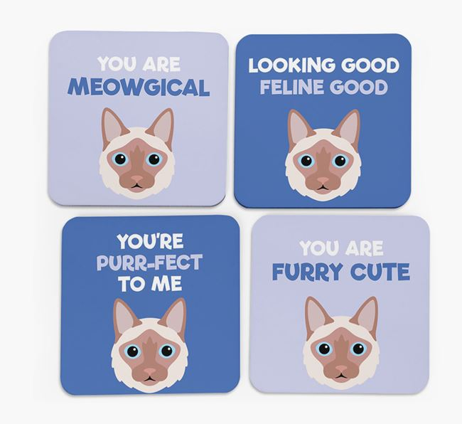 'You Are Meowgical' - Personalized Balinese Coaster (Set of 4)