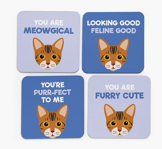 'You Are Meowgical' - Personalised Bengal Coaster (Set of 4)