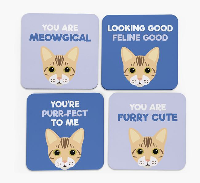 'You Are Meowgical' - Personalized Bengal Coaster (Set of 4)