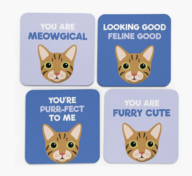 'You Are Meowgical' - Personalized Cat Coaster (Set of 4)