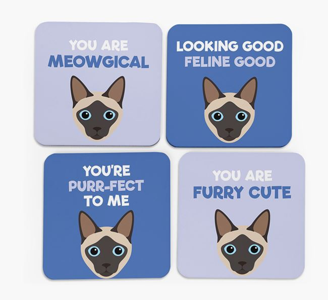 'You Are Meowgical' - Personalized Siamese Coaster (Set of 4)