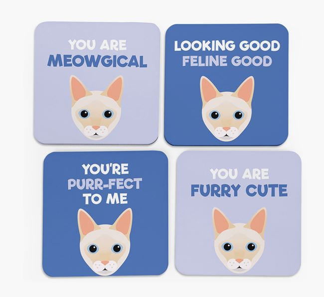 'You Are Meowgical' - Personalised Siamese Coaster (Set of 4)