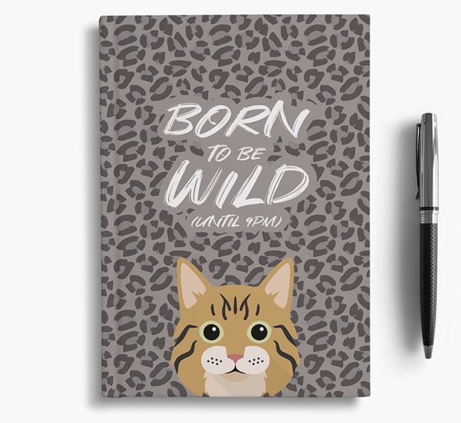 'Born To Be Wild' - Personalized Cat Notebook