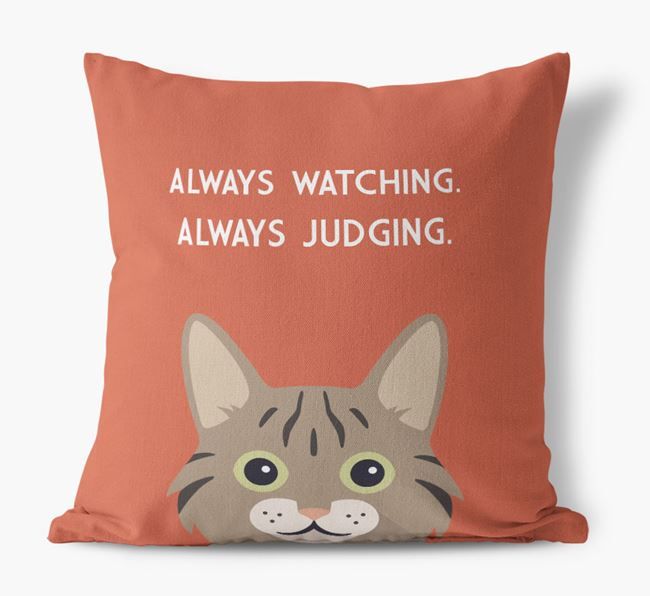 'Always Watching' - Personalized Cat Canvas Pillow
