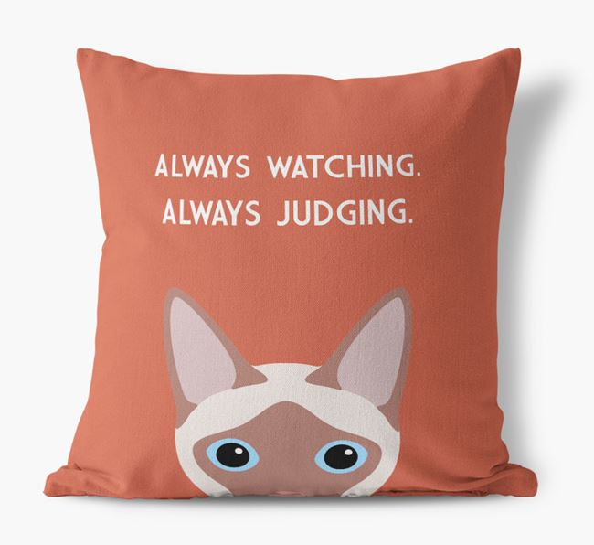 'Always Watching' - Personalized Siamese Canvas Pillow