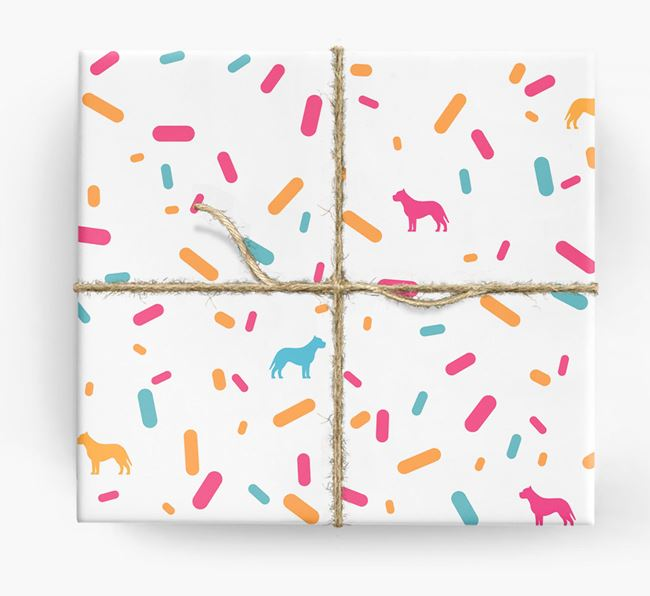 Pit Bull Terrier Silhouettes & Confetti Wrapping Paper