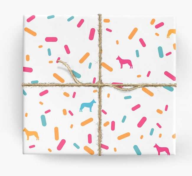 Cattle Dog Silhouettes & Confetti Wrapping Paper
