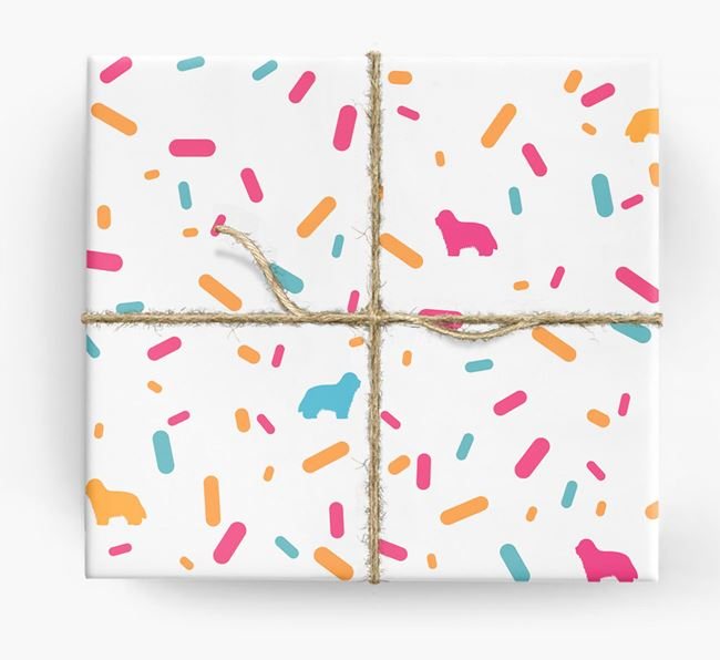 Bearded Collie Silhouettes & Confetti Wrapping Paper