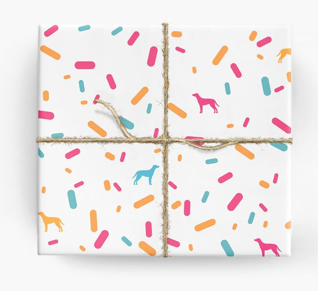 Blue Lacy Silhouettes & Confetti Wrapping Paper