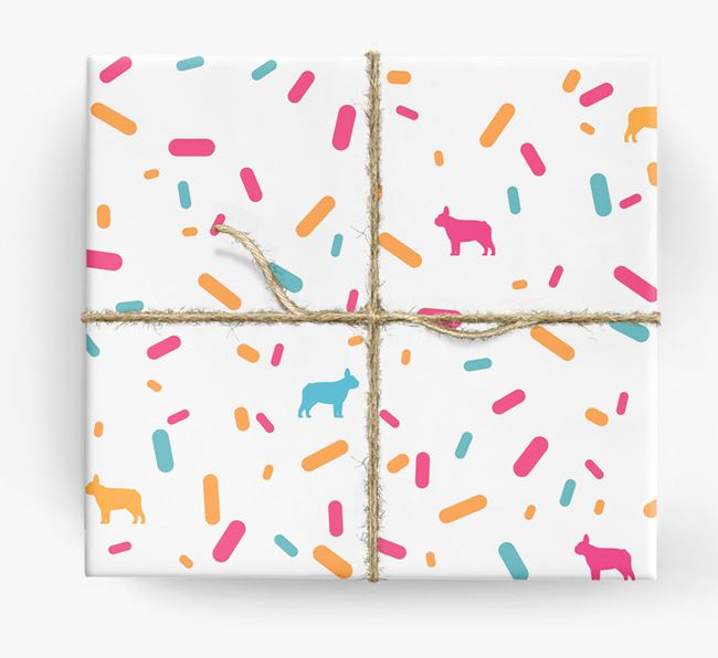 Frenchie Silhouettes & Confetti Wrapping Paper