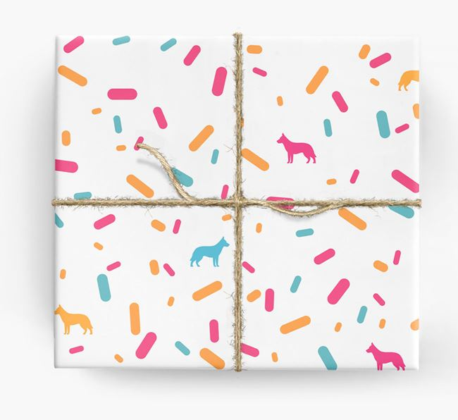 German Shepherd Silhouettes & Confetti Wrapping Paper