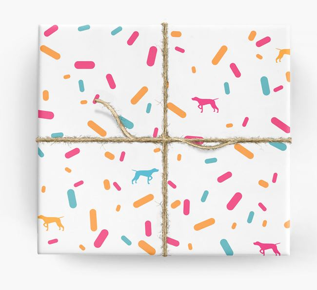 Shorthaired Pointer Silhouettes & Confetti Wrapping Paper