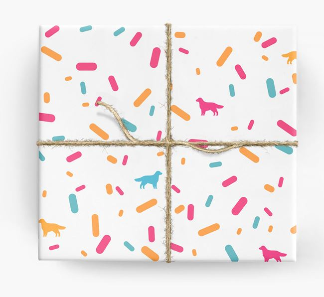 Golden Retriever Silhouettes & Confetti Wrapping Paper