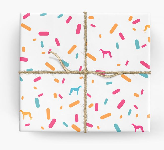 Greyhound Silhouettes & Confetti Wrapping Paper