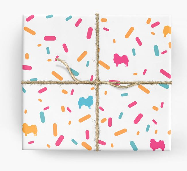 Pekingese Silhouettes & Confetti Wrapping Paper