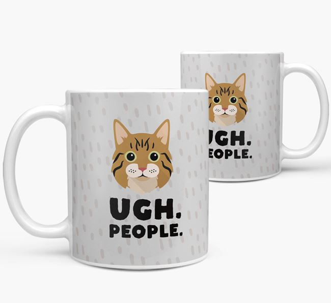 'Ugh, People' - Personalized Cat Mug