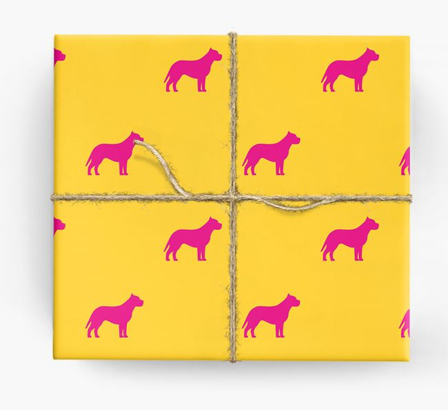 Pit Bull Terrier Silhouette Wrapping Paper