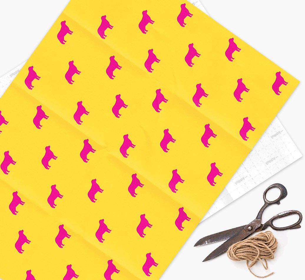 Bernese Mountain Dog silhouettes pattern Wrapping Paper