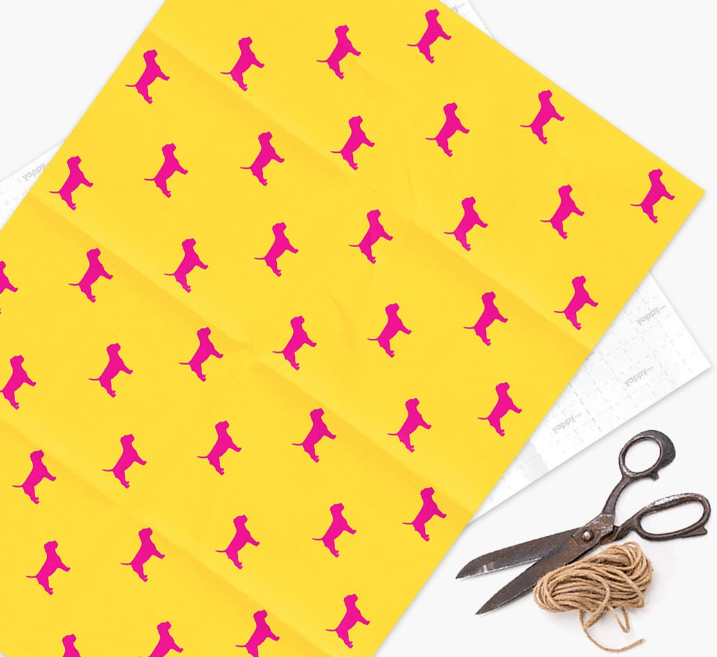Border Terrier silhouettes pattern Wrapping Paper