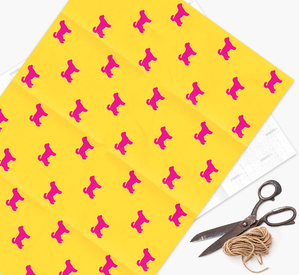 Cavachon silhouettes pattern Wrapping Paper