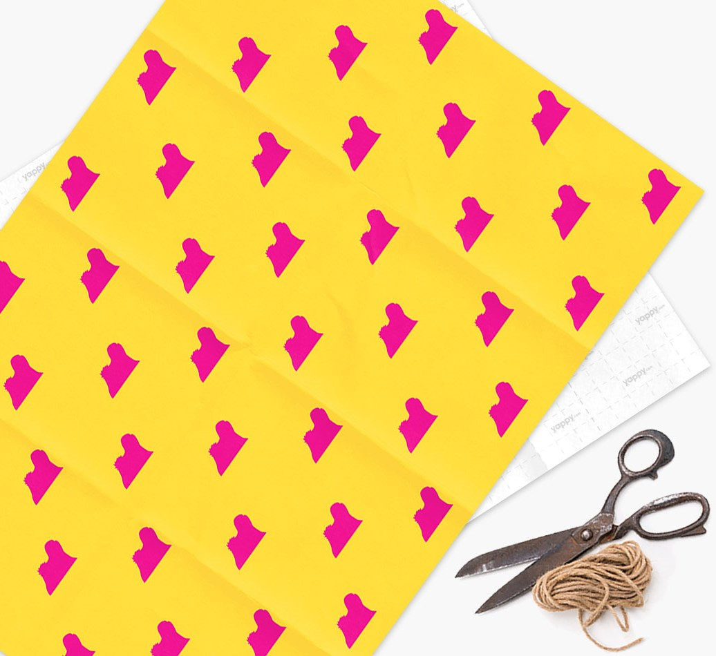 Lhasa Apso silhouettes pattern Wrapping Paper