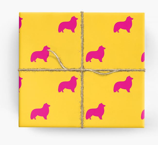 Sheltie Silhouette Wrapping Paper