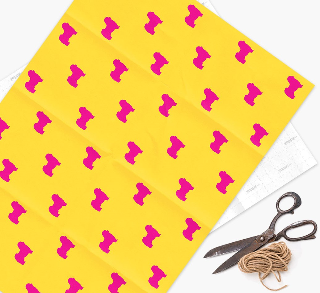 Tibetan Terrier silhouettes pattern Wrapping Paper