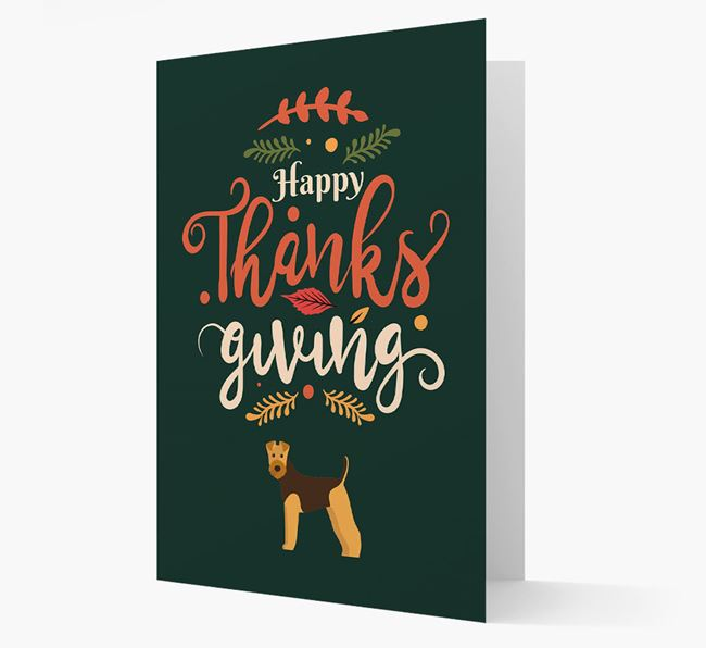 'Happy Thanksgiving!' - Personalized Airedale Terrier Card