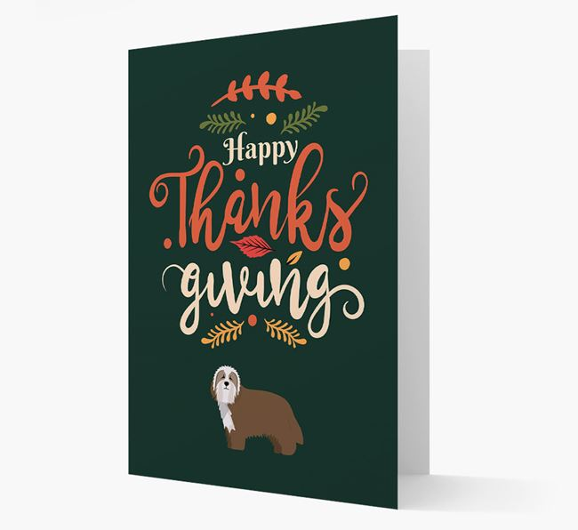 'Happy Thanksgiving!' - Personalized Bearded Collie Card