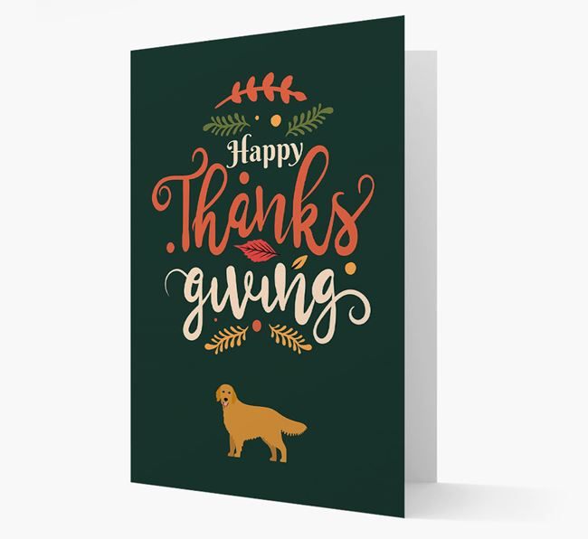 'Happy Thanksgiving!' - Personalized Flat-Coated Retriever Card
