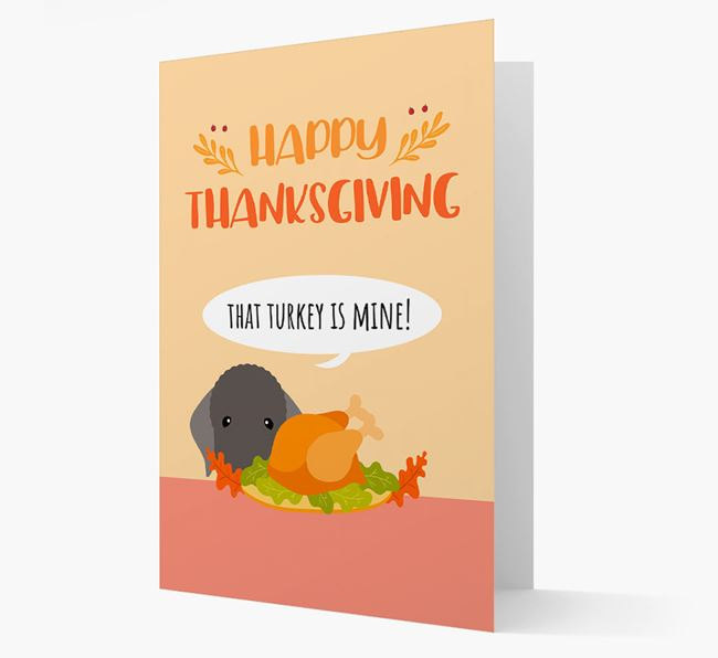 'That Turkey Is Mine!' - Personalized Bedlington Terrier Thanksgiving Card