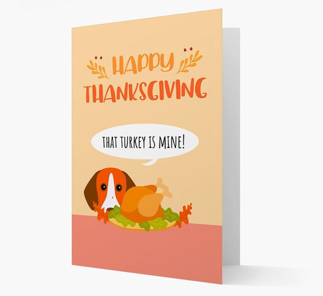 'That Turkey Is Mine!' - Personalized Pointer Thanksgiving Card